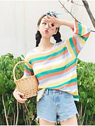 Damen Kurz Pullover-Lässig/Alltäglich Solide Gestreift Rundhalsausschnitt Langarm Seide Sommer Dünn Mikro-elastisch
