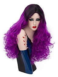 cheap -Women Synthetic Wig Capless Long Deep Wave Bright Purple Ombre Hair Halloween Wig Costume Wigs