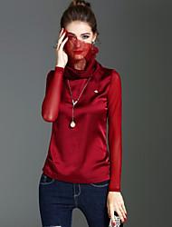 T-shirt Da donna Per eventi Per uscire Vintage Romantico Moda città Primavera Autunno,Tinta unita A collo alto Poliestere Manica lunga