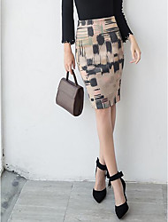 Women's Daily Going out Holiday Midi Skirts,Casual Street chic Bodycon Others Print Spring Fall