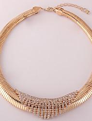abordables -Mujer Diamante sintético Gargantillas - Chapado en Oro Moda Dorado, Blanco, Negro Gargantillas Para Diario