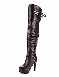 cheap -Women's Shoes Leatherette Fall Winter Fashion Boots Boots Stiletto Heel Platform Round Toe Thigh-high Boots Bowknot Ruffles Lace-up For