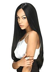 Femme Perruque Naturelles Dentelle Brésiliens Cheveux humains Full Lace 120% Densité Avec Mèches Avant Raide Perruque Noir Noir Mi Longue