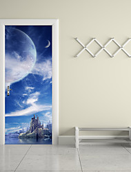 cheap -77*200cm 3D Fantasy Planet Door Mural Sticker 3D Heavenly Body Island Fairyland Door Mural Decal Home Decor for Living Kids Room