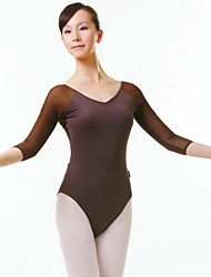 Ballet Women's Performance Nylon 1 Piece Half Sleeve Natural Leotard
