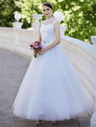 abordables -Robe de Soirée Illusion Neck Longueur Cheville Tulle Robes de mariée sur mesure avec Paillette / Appliques par / Scintillant & Brillant / Transparent