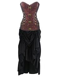 Damen Korsett-Kleider Nachtwäsche,Sexy Push-Up Retro Solide-Baumwolle
