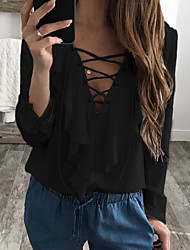 Women's Going out Cute Blouse,Solid V Neck Long Sleeves Others