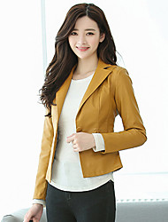 cheap -Women's Daily Work Simple Casual Winter Fall Leather Jacket,Solid Shirt Collar Long Sleeve Short PU