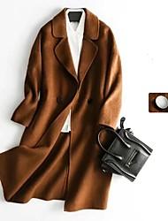 Damen Solide Einfach Street Schick Ausgehen Lässig/Alltäglich Mantel,Gekerbtes Revers Frühling Herbst Lange Ärmel Lang Kaschmir Baumwolle