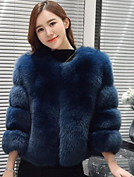 cheap -Women's Simple Casual Fox Fur Fur Coat-Solid Colored