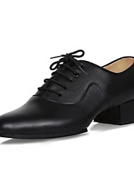 """cheap -Men's Latin Real Leather Oxford Indoor Chunky Heel Black 1"""" - 1 3/4"""""""