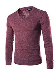 abordables -Homme Quotidien / Sports Couleur Pleine Manches Longues Normal Pullover, Col en V Automne / Hiver Violet / Jaune / Vin L / XL / XXL