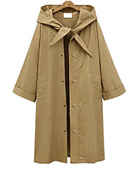 Women's Casual/Daily Simple Fall Trench Coat,Solid Hooded Long Sleeve Long Polyester