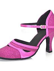 "cheap -Women's Modern Sparkling Glitter Sandal Heel Professional Buckle Sparkling Glitter Customized Heel Black Purple Brown 1"" - 1 3/4"" 2"" - 2"