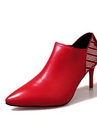 baratos -Mulheres Sapatos Couro Ecológico Outono Coturnos Botas Salto Agulha Dedo Apontado Ziper para Casual Preto Bege Vermelho