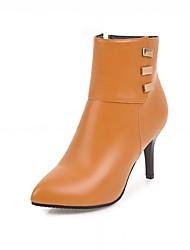 Feminino Sapatos Courino Outono Inverno Botas da Moda Botas Salto Agulha Dedo Apontado Botas Curtas / Ankle Ziper Para Casual Preto
