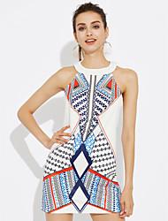 cheap -Women's Going out Sheath Dress - Color Block White High Rise