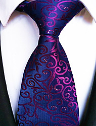 Men's Polyester Neck Tie,Striped Striped All Seasons Purple