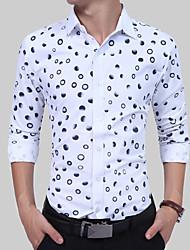 preiswerte -Herrn Solide / Punkt Baumwolle Hemd, Klassischer Kragen / Langarm