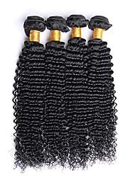 economico -400g / 4 fasci 10-26inch capelli vergini brasiliani naturali neri kinky ricci capelli umani crudi