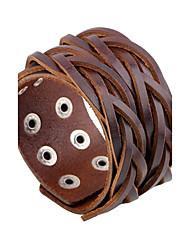 Недорогие -Муж. тканый Кожаные браслеты Кожа Панк Камни Мода Браслеты Бижутерия Черный / Кофейный Назначение Повседневные