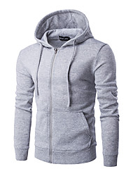 Men's Daily Hoodie Solid Hooded Micro-elastic Polyester Long Sleeve Winter