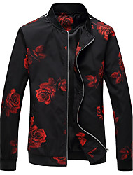 cheap -Men's Simple Casual Plus Size Jacket Print Stand
