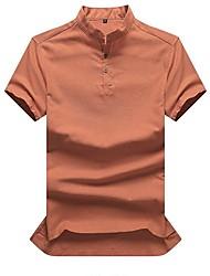 billige -Høj krave Herre - Ensfarvet Bomuld Skjorte