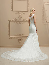 cheap -Mermaid / Trumpet Straps Chapel Train Lace Custom Wedding Dresses with Appliques by LAN TING BRIDE®
