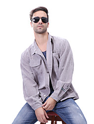 Men's Daily Plus Size Simple Casual Spring Fall Jacket,Solid Square Neck Long Sleeve Regular Polyester Nylon