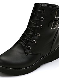 cheap -Women's Shoes PU Winter Gladiator Comfort Boots Flat Heel Round Toe Mid-Calf Boots Lace-up For Casual Black