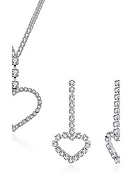 baratos -Mulheres Brincos Compridos Colares com Pendentes Cristal Zircônia Cubica Zircônia cúbica Cristal Zircão Irregular Coração Luxo Fashion