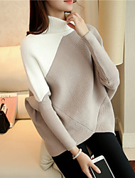 cheap -Women's Daily Color Block Turtleneck Pullover, Long Sleeves Spring Fall Cotton