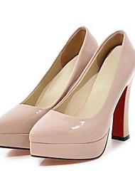 preiswerte -Damen Schuhe PU Frühling / Herbst Komfort / Neuheit High Heels Blockabsatz Spitze Zehe Schwarz / Beige / Mandelfarben / Hochzeit