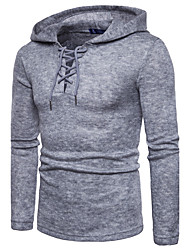 Men's Casual/Daily Regular Pullover,Solid Hooded Long Sleeves Polyester Fall Winter Medium Micro-elastic