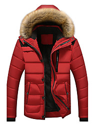 cheap -Men's Short Padded Coat,Casual Daily Solid-Polyester Polyester Long Sleeves Hooded