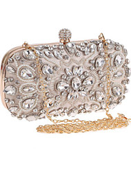 cheap -Women's Bags Polyester Evening Bag Crystals / Pearls Black / Almond