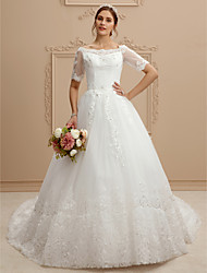 A-Line Bateau Neck Cathedral Train Lace Tulle Wedding Dress with Lace by LAN TING BRIDE®