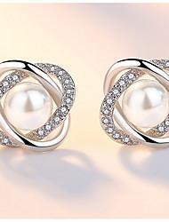 economico -Per donna Orecchini a bottone Zircone cubico Strass Perle finte Elegant Di tendenza Perle finte Lega A forma di fiore Palla Gioielli Per