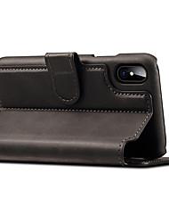 Недорогие -Кейс для Назначение Apple iPhone X iPhone 8 iPhone 8 Plus iPhone 7 Бумажник для карт Кошелек со стендом Флип Магнитный Чехол Сплошной цвет