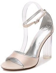baratos -Mulheres Sapatos Cetim Primavera / Verão Plataforma Básica / Tira no Tornozelo / Shoe transparente Sandálias Salto Robusto / Heel