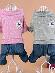 Cane Tuta Abbigliamento per cani Casual Lettere & Numeri Verde Rosa
