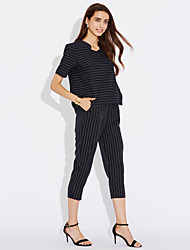 cheap -Women's Daily Casual Summer T-shirt Pant Suits,Striped Asymmetrical Short Sleeve Cotton/nylon with a hint of stretch