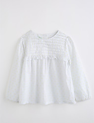 cheap -Girls' Geometric Blouse,Cotton Fall Long Sleeve White