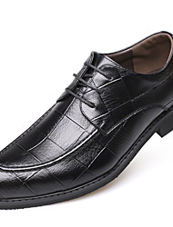 Men's Shoes Real Leather Leather Fall Winter Comfort Formal Shoes Oxfords Lace-up For Casual Office & Career Black Brown