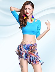 Belly Dance Outfits Women's Performance Modal Pattern/Print 2 Pieces Half Sleeve Natural Skirts Tops