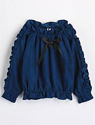 cheap -Girls' Solid Shirt,Cotton Fall Long Sleeve Blue