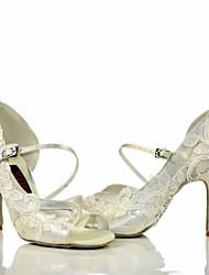 Для женщин Сальса Кружева Сатин Сандалии На каблуках Для вечеринок Кружево С пряжкой Каблуки на заказ Белый Каблуки на заказ