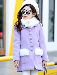 cheap -Girls' Solid Print Jacket & Coat,Acrylic Polyester Winter Fall Long Sleeve Blushing Pink Purple
